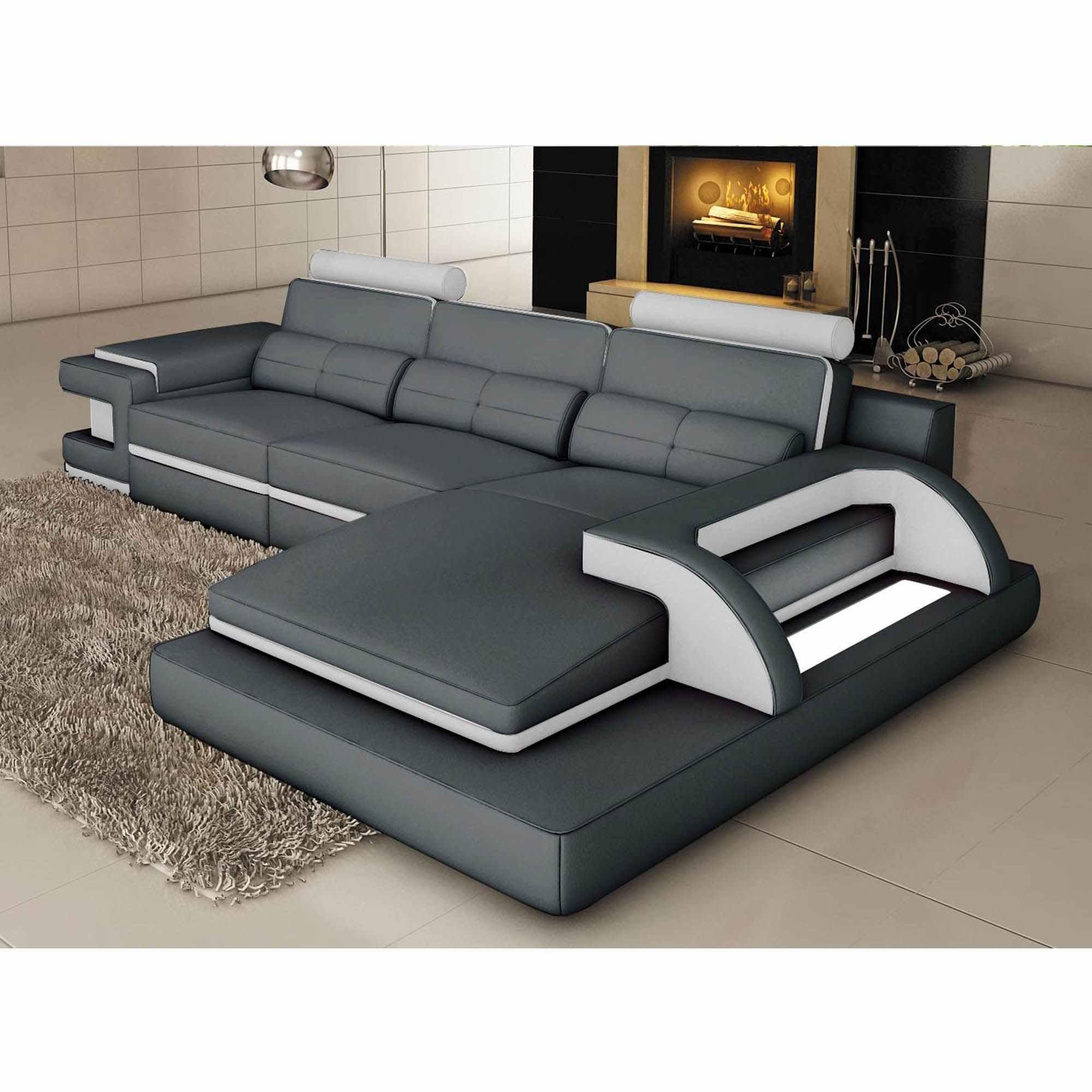 Canapé D'angle Cuir Gris Et Blanc Design Avec Lumière Ibiza - Angle Droit à Canape Gris Cuir