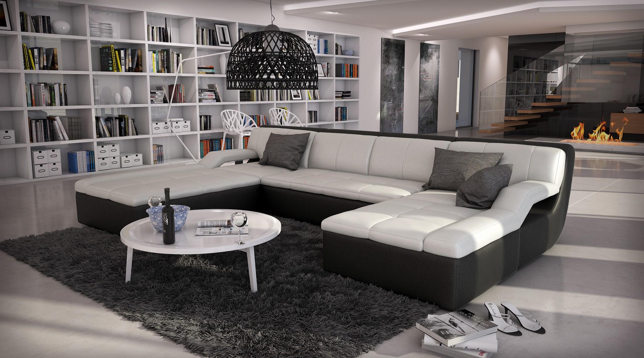 Canapé D'angle Design En Cuir Quiet Large, 1 789,00 € destiné Canape En U Gris