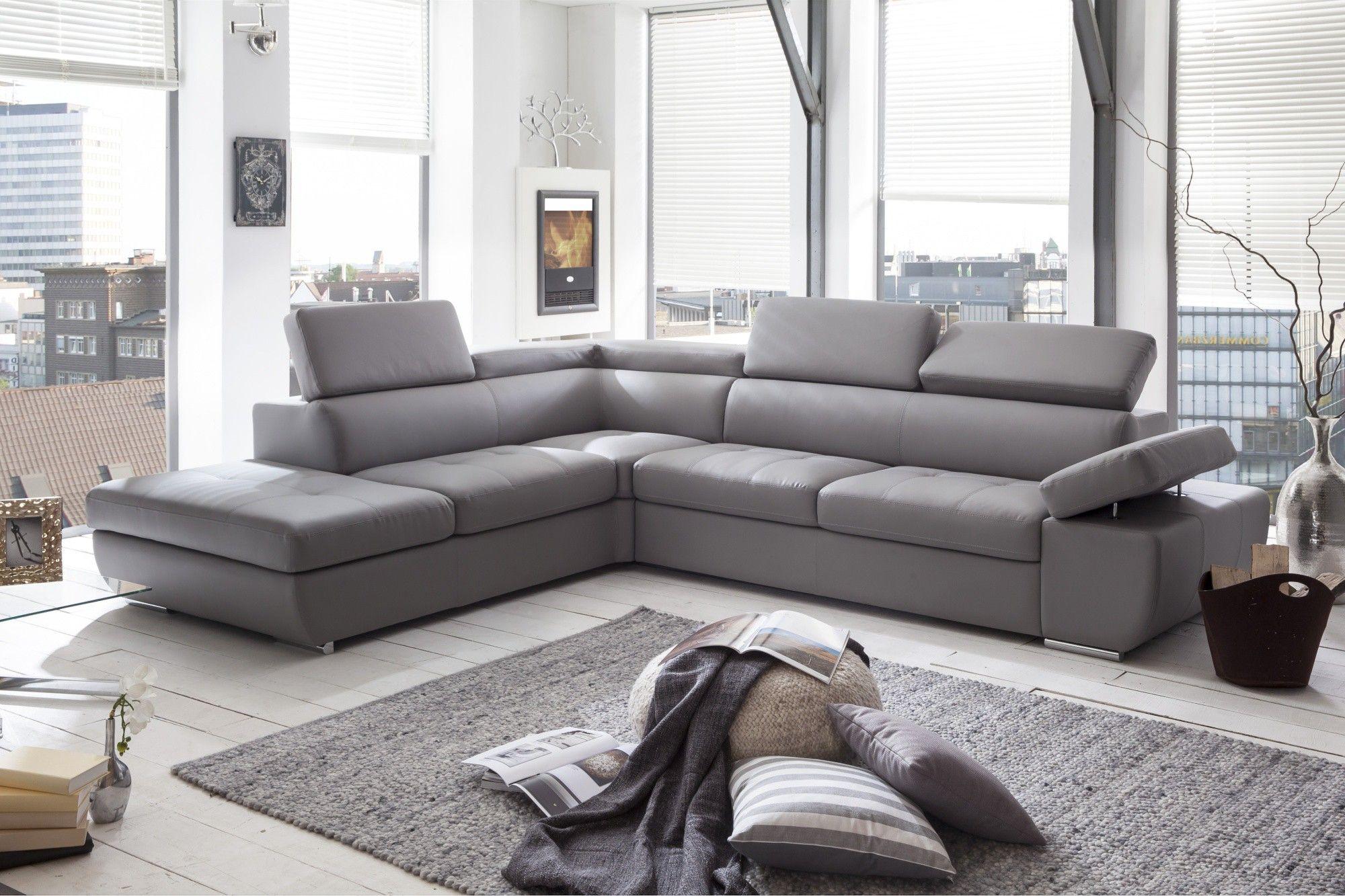 Canapé D'angle Design En Pu Gris Clair Marocco | Canapé ... destiné Canape Gris Cuir