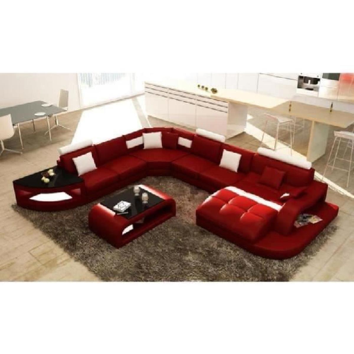Canapé D'angle Design Panoramique Rouge Et Blanc Istanbul ... tout Achat Canape D Angle