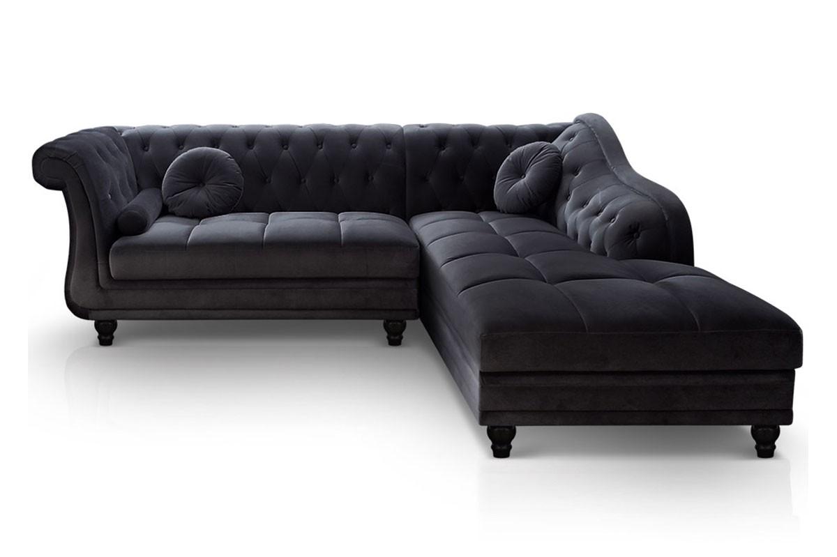 Canapé D'angle Droit Chesterfield Velours Noir avec Canape Chesterfield Convertible