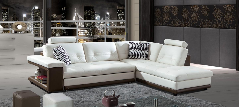 Canapé D'angle Droit En Cuir Blanc Et Taupe - Lumia dedans Canape Convertible Cuir Blanc