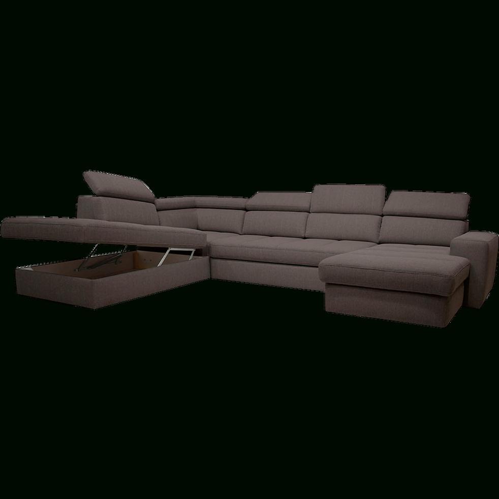 Canapé D'angle En Forme De U Convertible En Tissu Gris ... dedans Canape En U Gris