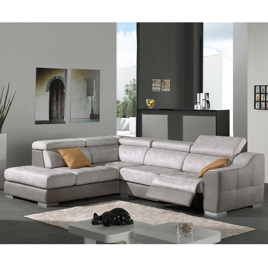 Canapé D'angle Gris En Tissu Malaga pour Canape Relax Design