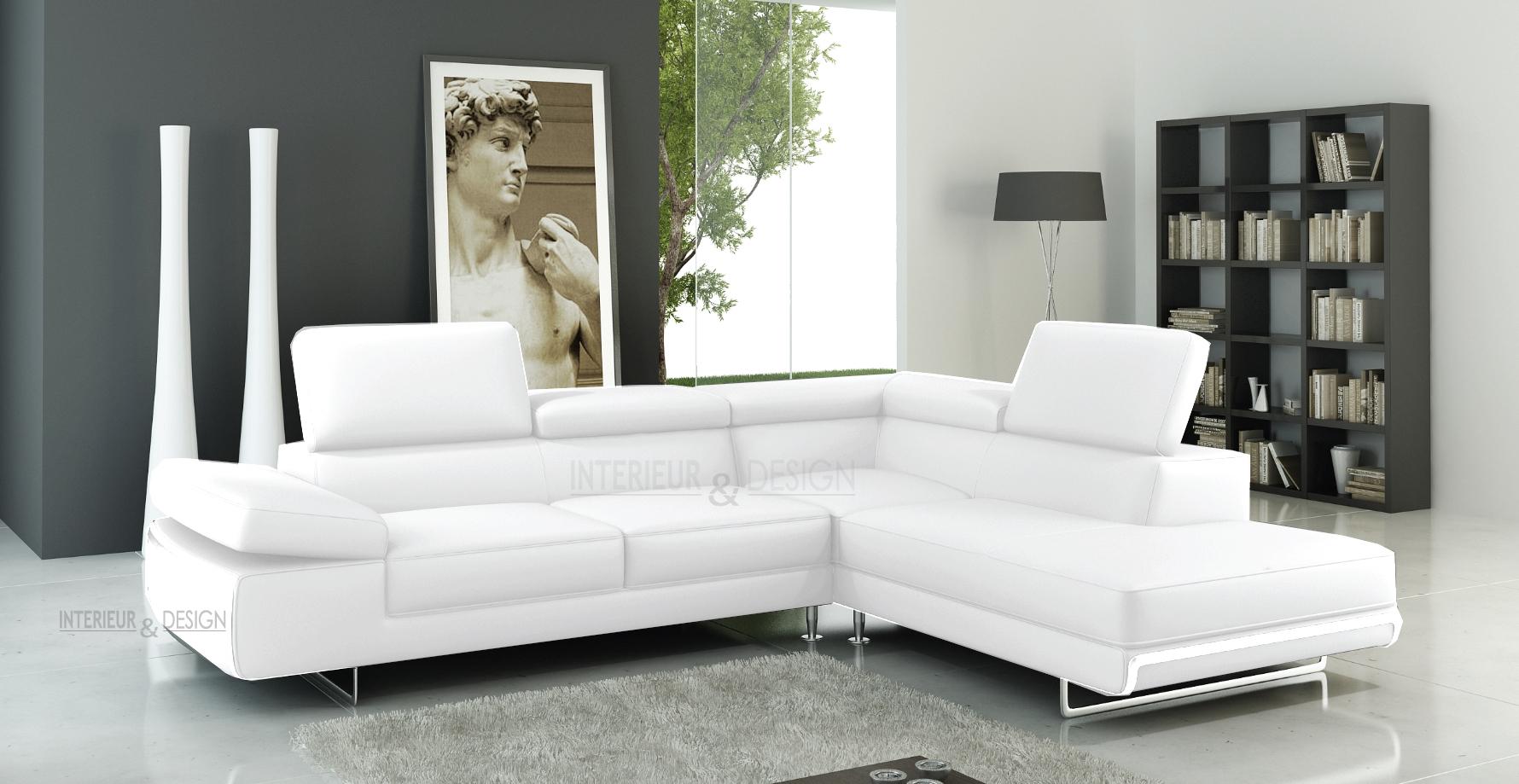 Canapé D'angle Guci En Cuir Haut De Gamme Italien Vachette Vénésetti concernant Canape Cuir Blanc