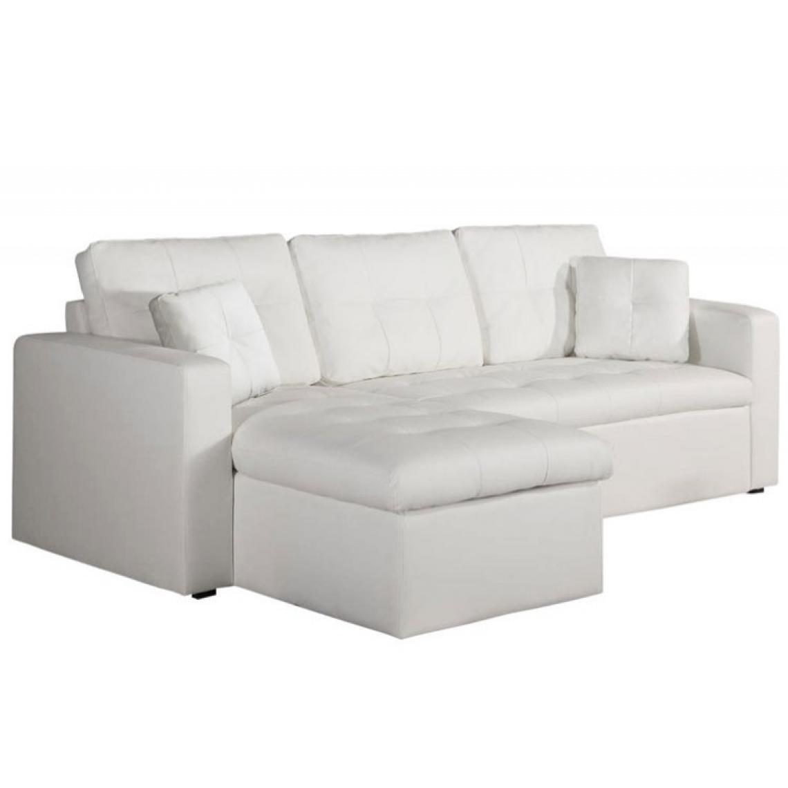 Canapé D'angle Modulable Et Convertible 3 Places Blanc Enzo 142X81X85 Plus  De Détails encequiconcerne Canape Cuir Blanc