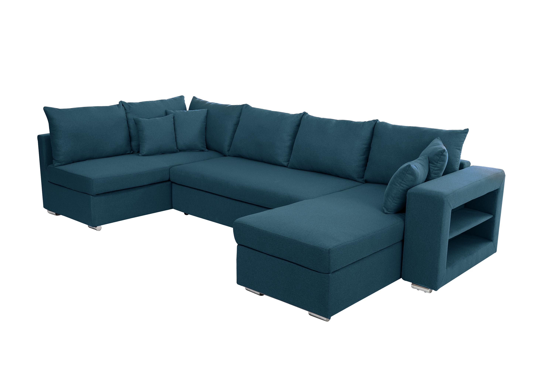 Canapé D'angle Panoramique Convertible Bleu Pétrole Et 2 Coffres De  Rangements Julie serapportantà Canape Deux Angles