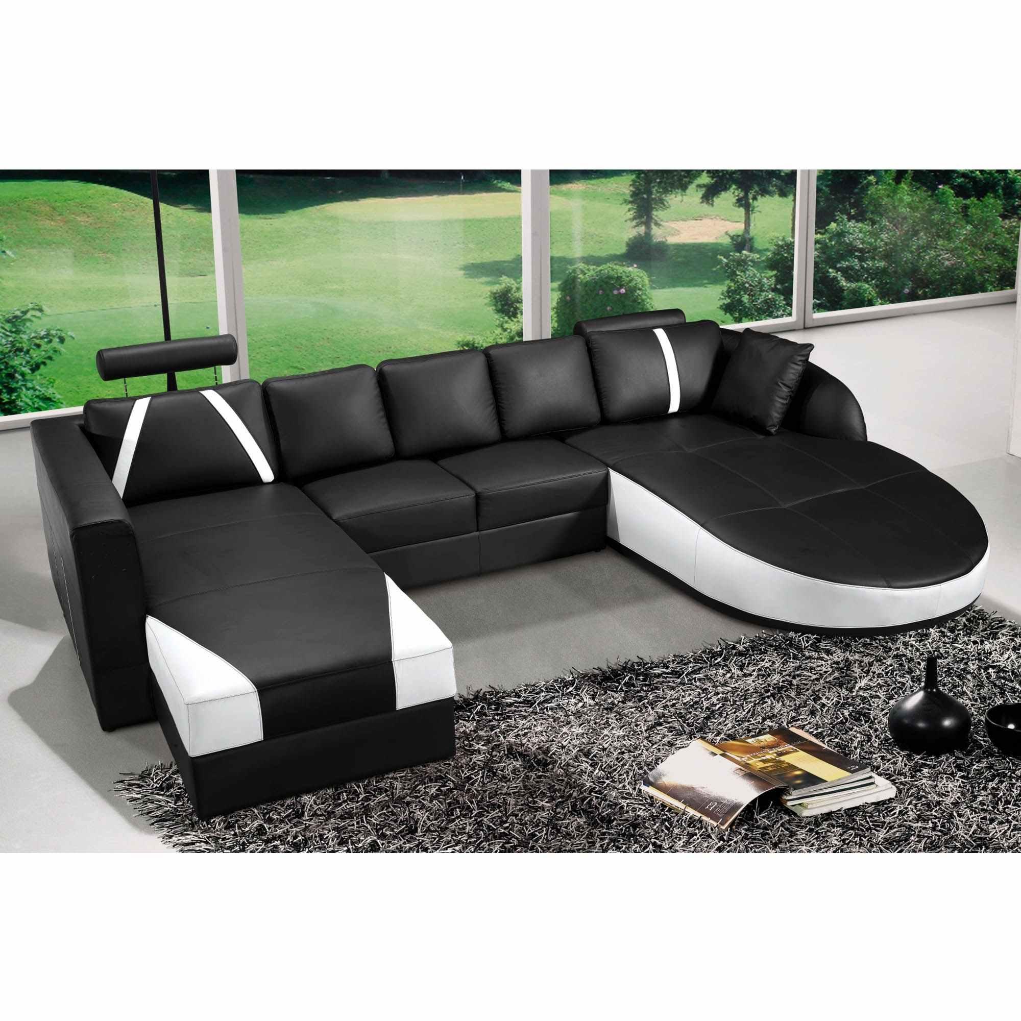 Canapé D'angle Panoramique Cuir Noir Et Blanc Sonia à Canape Deux Angles
