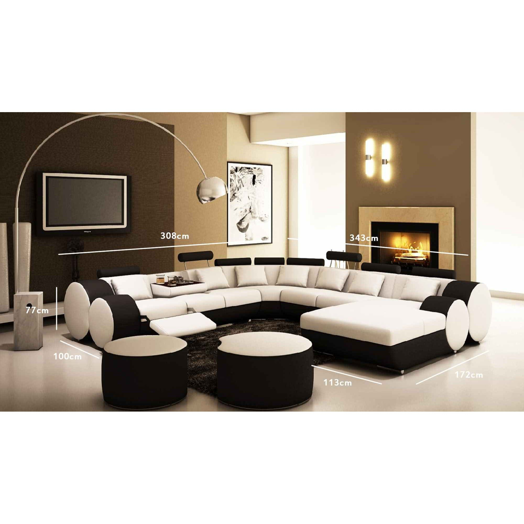 Canapé D'angle Panoramique Design En Cuir Noir Et Blanc Relax Roma encequiconcerne Canape Relax Design
