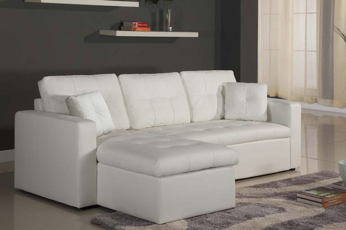 Canapé D'angle Reversible Convertible + Coffre Pu Blanc Irina avec Canape Convertible Cuir Blanc