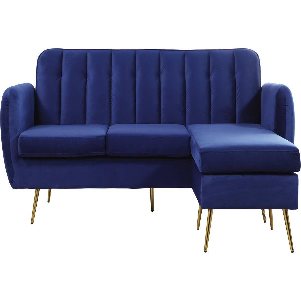 Canapé D'angle Réversible Velours Leonard - 202 X 80/138 X 92 Cm - 3 Places  - Bleu Foncé , Canapé D'angle Réversible En Velours Leonard - Dimensions :  ... à Canape Structure Bois