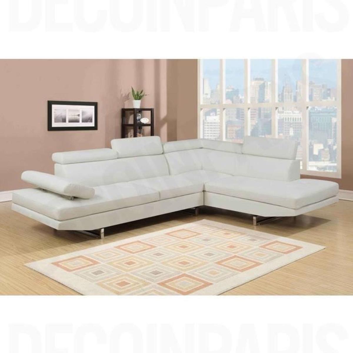 Canapé Design En Tissu Blanc Angle Droit Rubic - Achat ... avec Acheter Canape D Angle