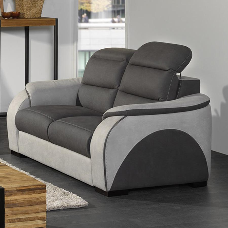 Canapé En Tissu 2 Places Gris Tobias pour Canape Relax 2 Places