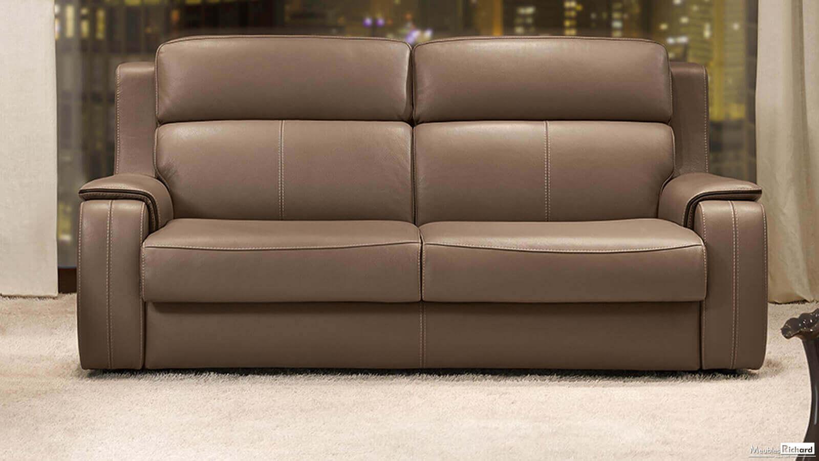 Canapé-Lit - Cuir - Style Contemporain | Canapé-Lit ... avec Canape Cuir Convertible