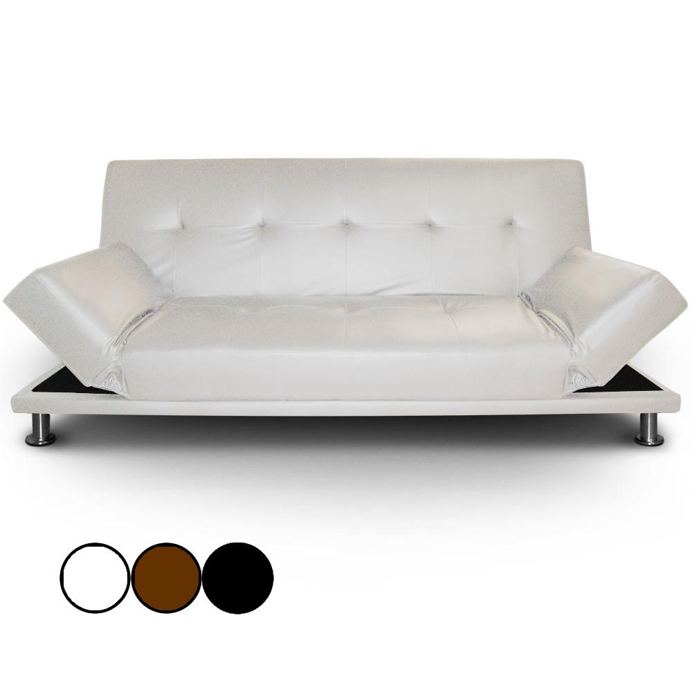 Canapé-Lit En Simili Cuir Noir Avec Pieds Inox Liberty ... à Canape Convertible Cuir Blanc