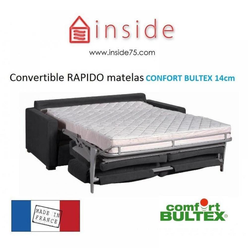 Canapé Lit Osman Convertible 140Cm Ouverture Rapido Matelas Confort Bultex  14 Cm tout Canape Convertible Tres Confortable