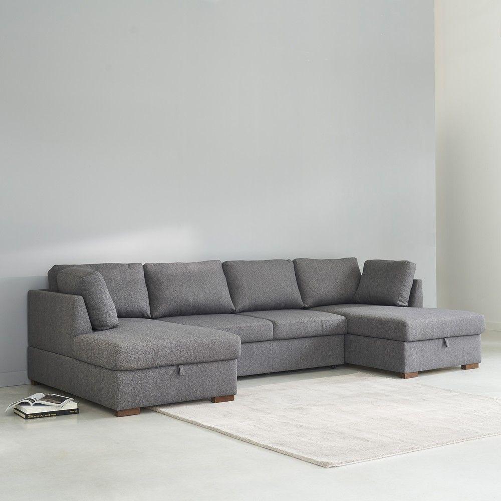 Canapé-Lit Panoramique 7 Places Gris | U Shaped Sofa Bed, U ... encequiconcerne Canape En U Gris