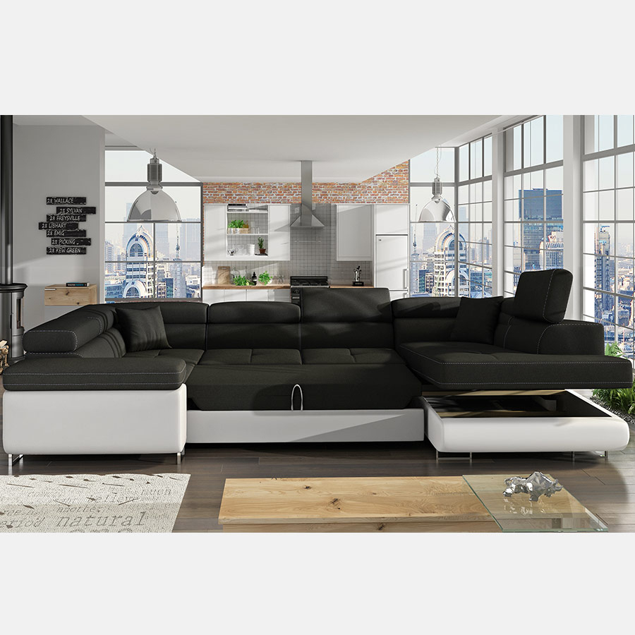 Canapé Panoramique Convertible Gris Et Noir Willis dedans Canape En U Gris