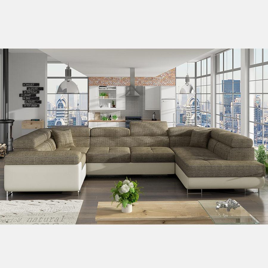 Canapé Panoramique Convertible Marron Clair Et Blanc Willis encequiconcerne Grand Canape Panoramique
