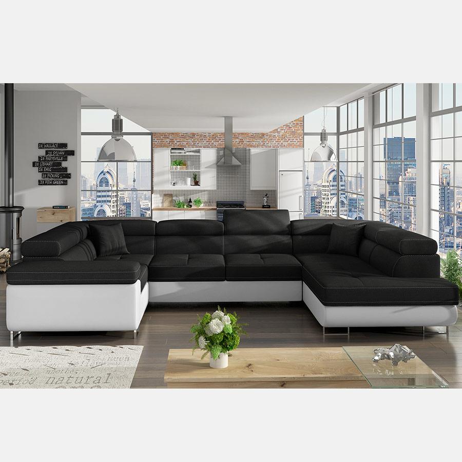 Canapé Panoramique Convertible Noir Et Blanc Willis encequiconcerne Grand Canape Panoramique
