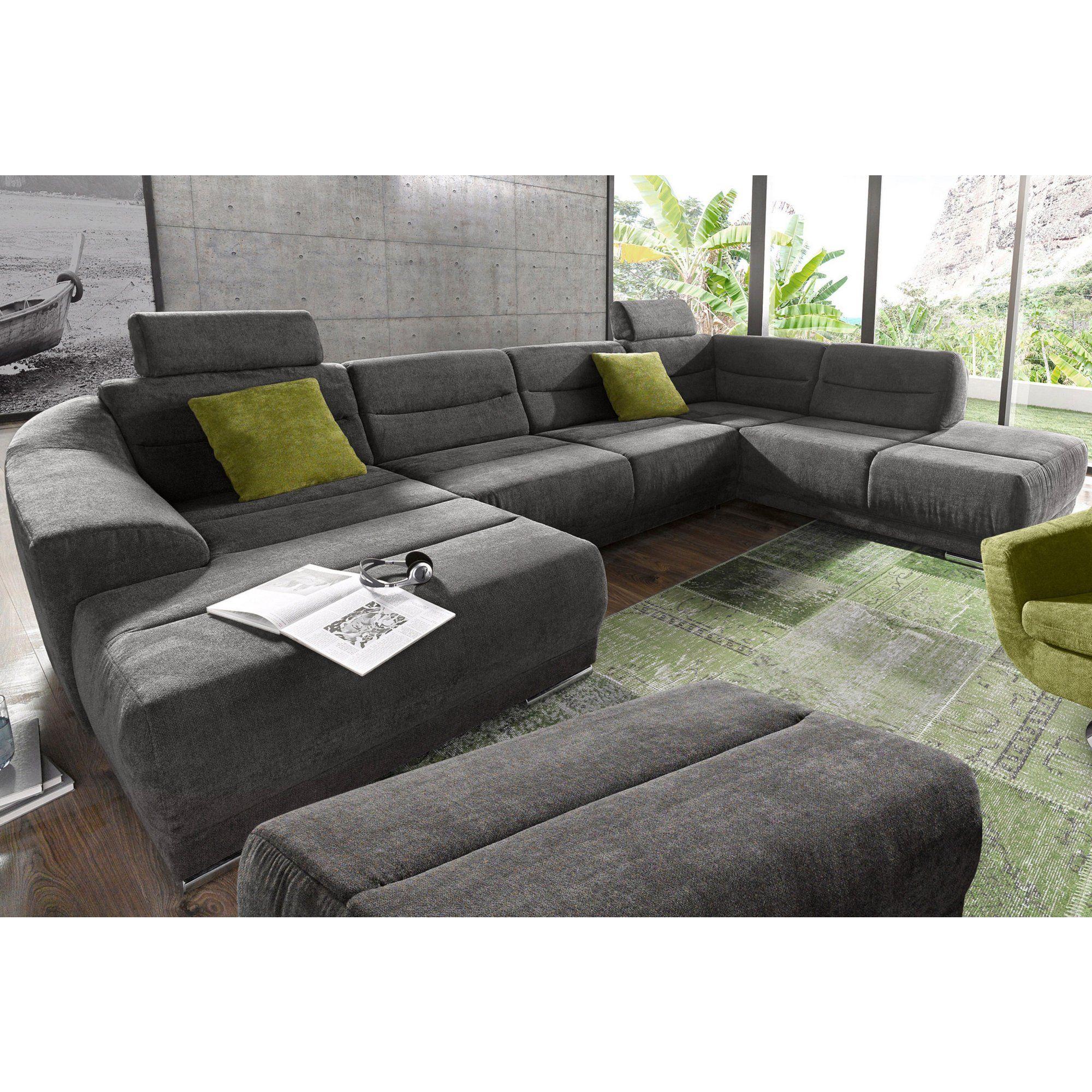 Canapé Panoramique Convertible Tissu Texturé Angle Fixe À ... concernant Grand Canape Panoramique