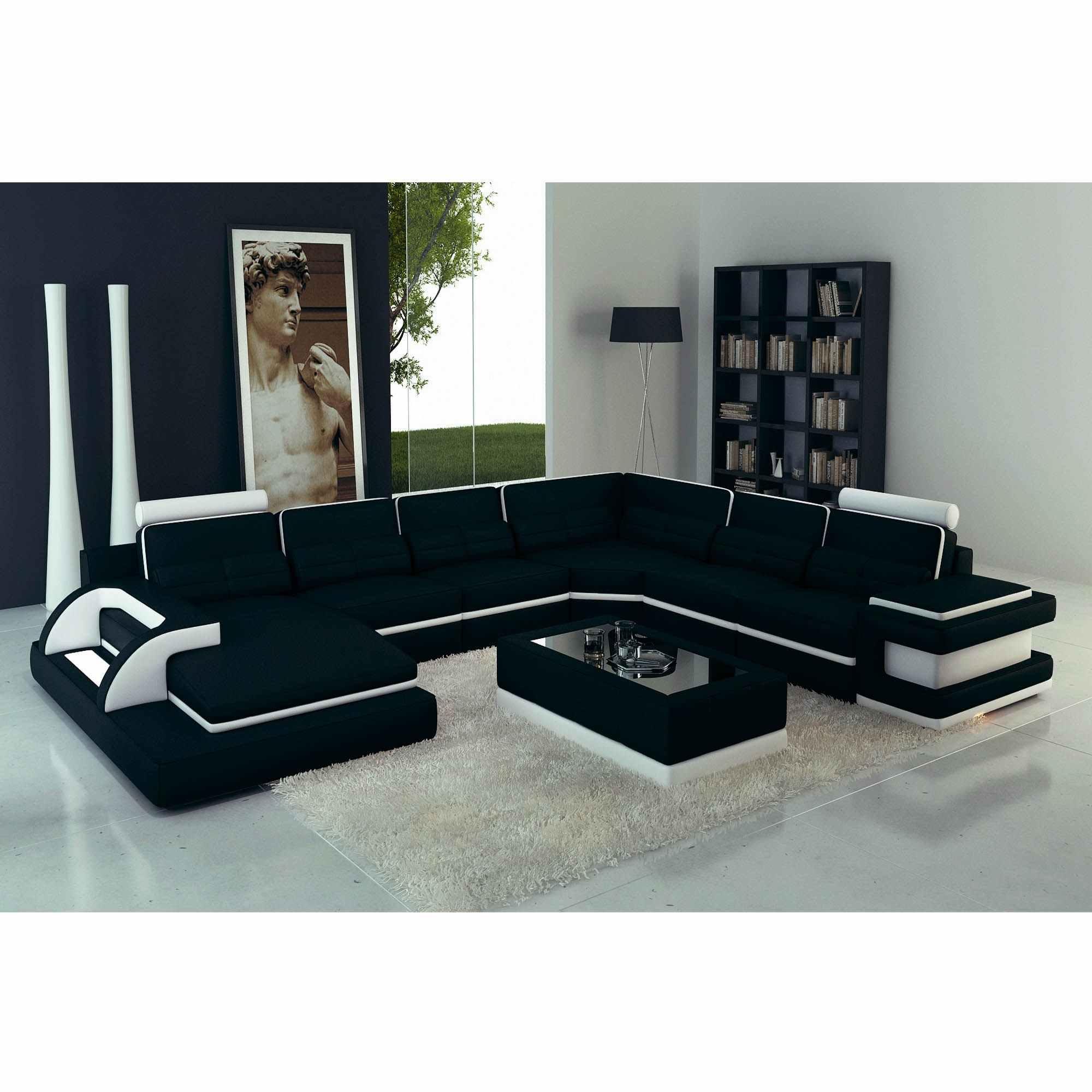 Canapé Panoramique Cuir Noir Et Blanc Design Avec Lumière Ibiza Panoramique  (Angle Gauche) à Canape Convertible Noir Et Blanc