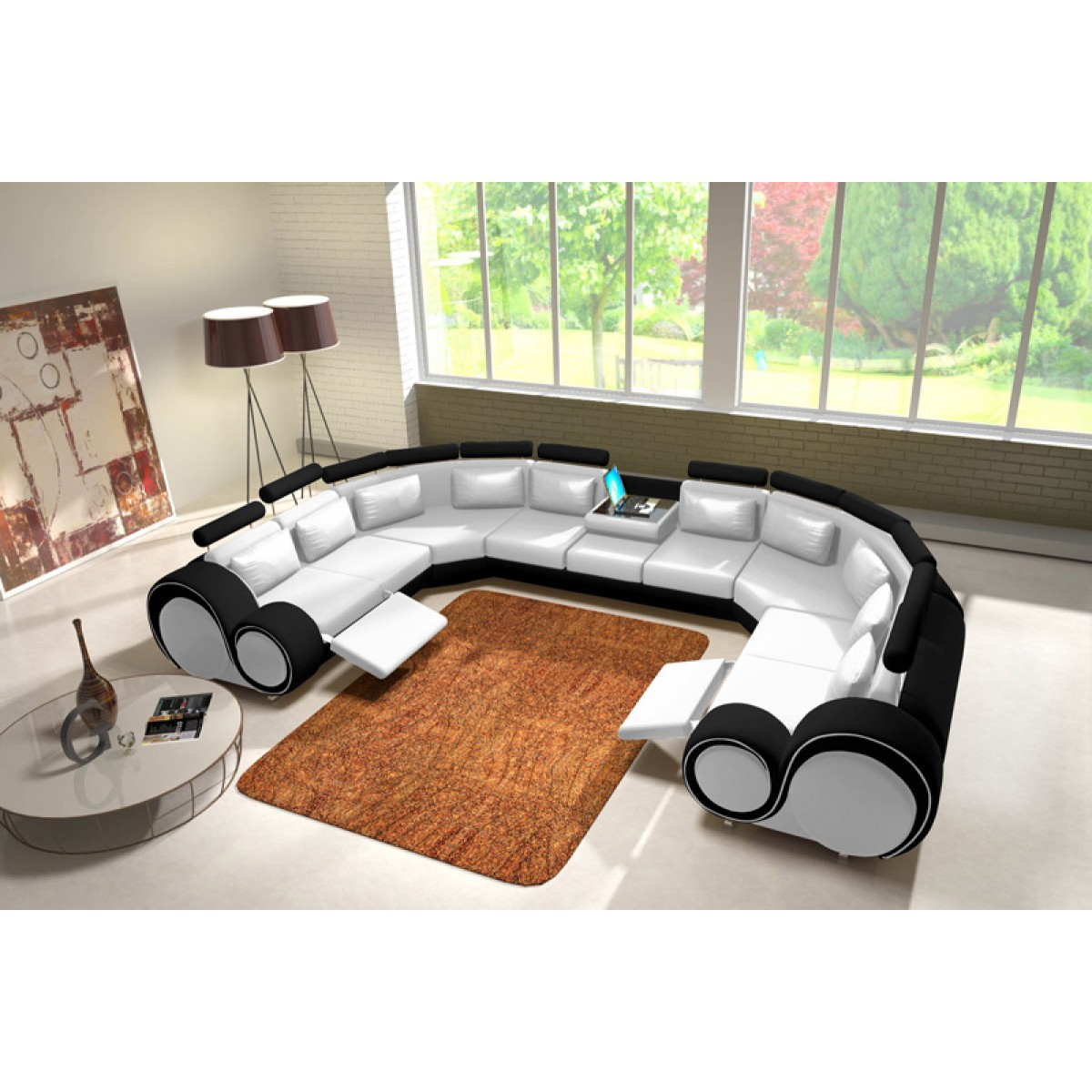 Canapé Panoramique En Cuir Rolls - 9 Places - Relax ... dedans Canape Cuir En U