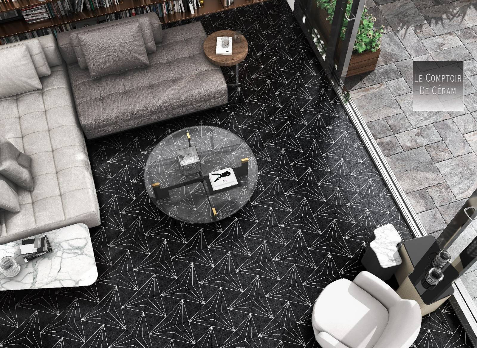 Carrelage Hexagonal Sol Et Mur Formes Géométriques Noir Et ... à Carrelage Sol Hexagonal