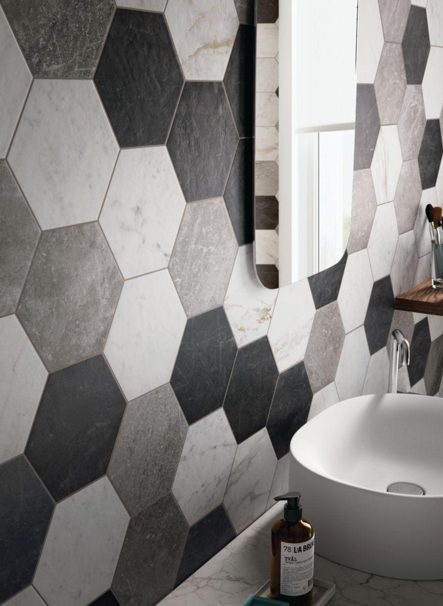 Carrelage Hexagonal Sol Intérieur Grès Cérame Bistrot - Crux Grey - 21X18,2  Cm dedans Carrelage Sol Hexagonal