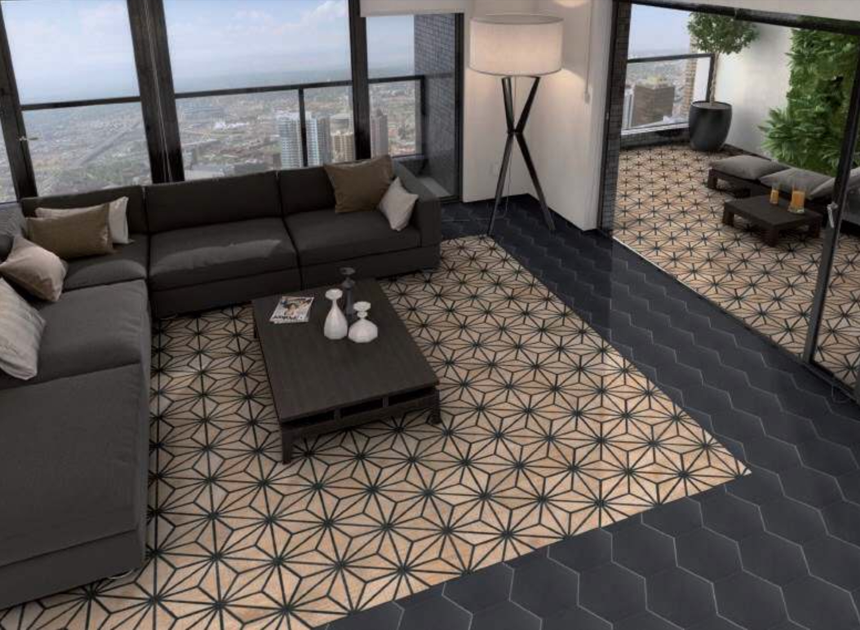 Carrelage Hexagonal Tribeca 25X22Cm pour Carrelage Sol Hexagonal