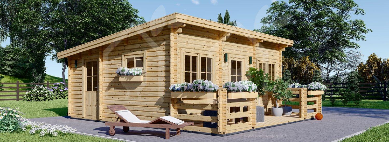Chalet En Bois À Toit Plat Alto (44 Mm), 31M² + 8 M² Terrasse intérieur Abri De Jardin 30M2