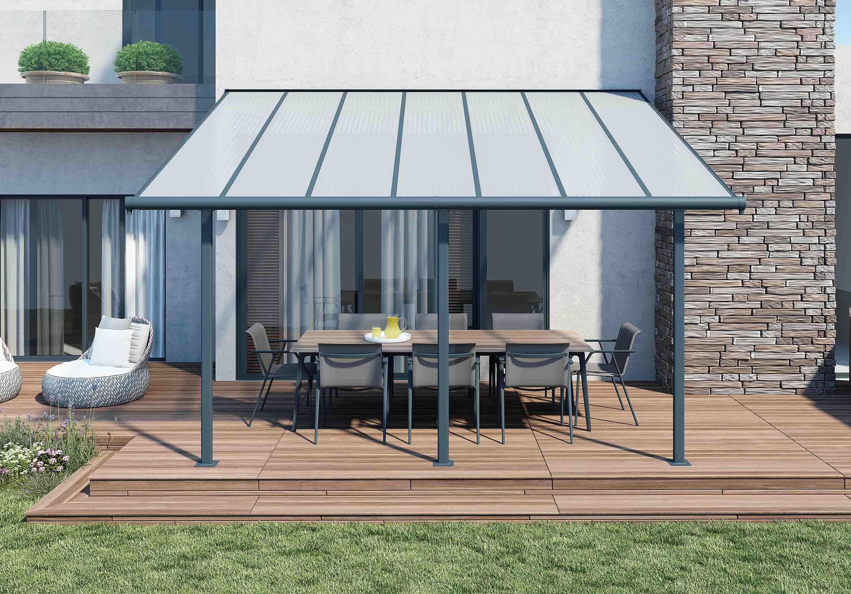 Chalet & Jardin Boutique : Pergola En Aluminium - Palram - 3X4M destiné Toit Terrasse Aluminium