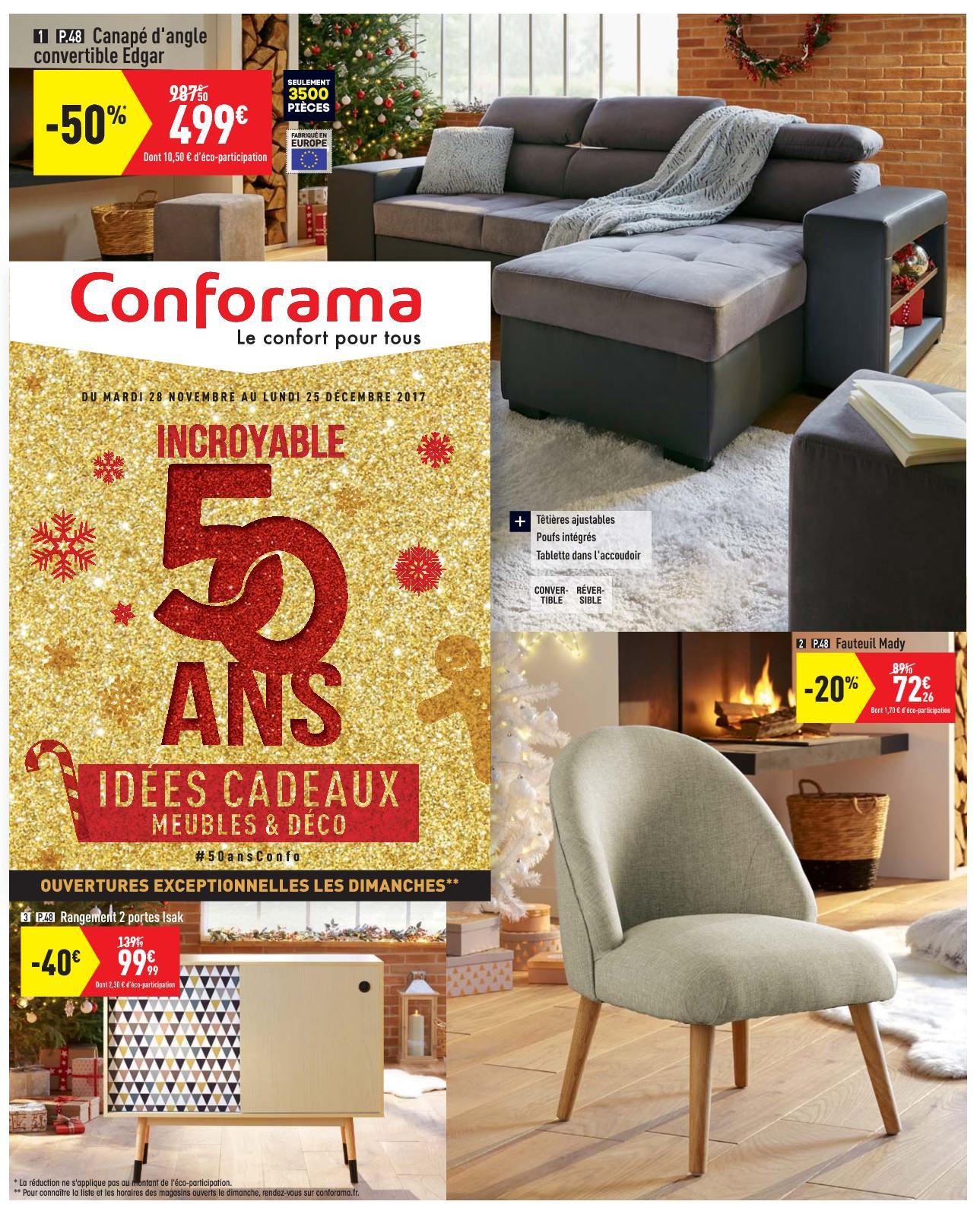 Conforama 50Ans Idees Cadeaux - Calameo Downloader intérieur Fauteuil Lit Conforama