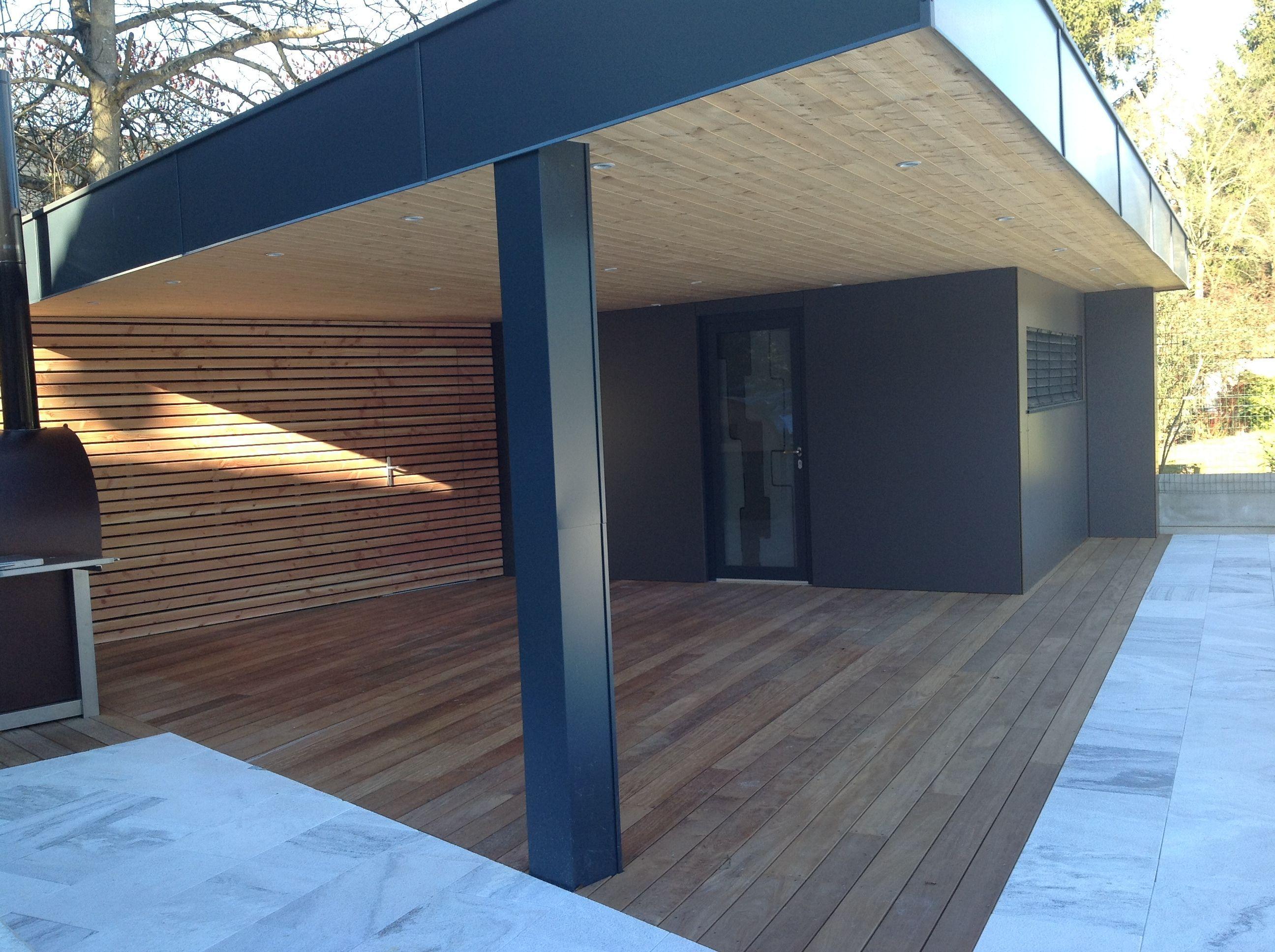 Construction D'un Abri De Jardin Design En Ossature Bois En ... destiné Abri De Jardin Design