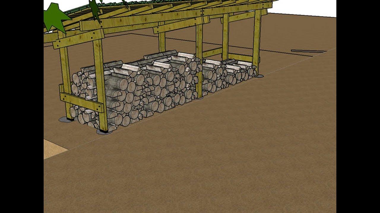 Construire Un Abri Pour Le Bois De Chauffage Explications En Images 3D intérieur Abris A Bois