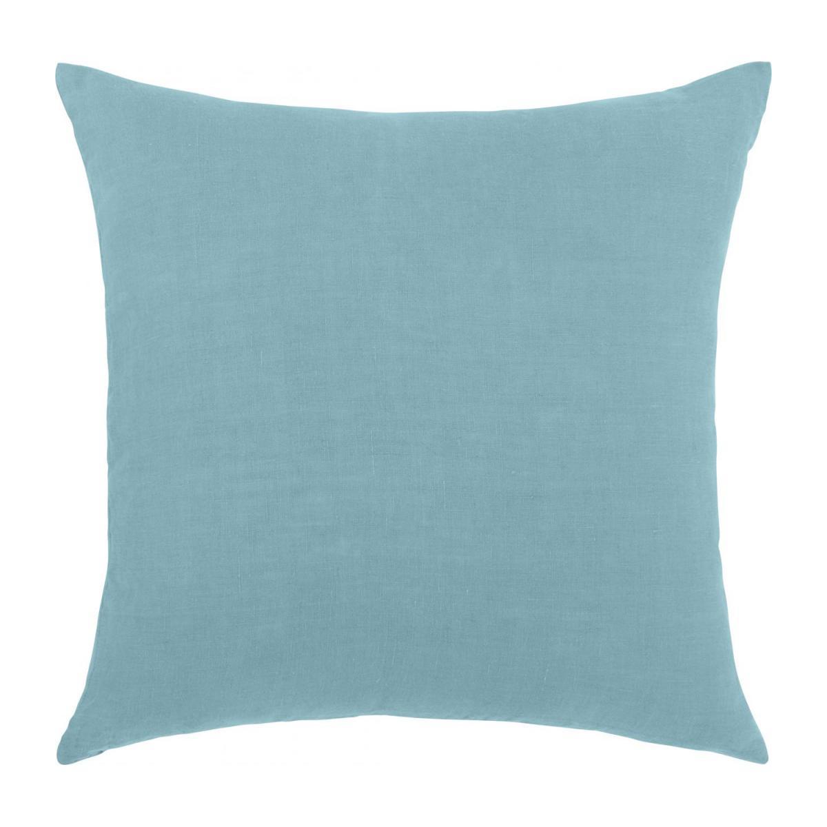 Coussin En Lin - 45 X 45 Cm - Bleu Clair à Coussin Bleu Turquoise