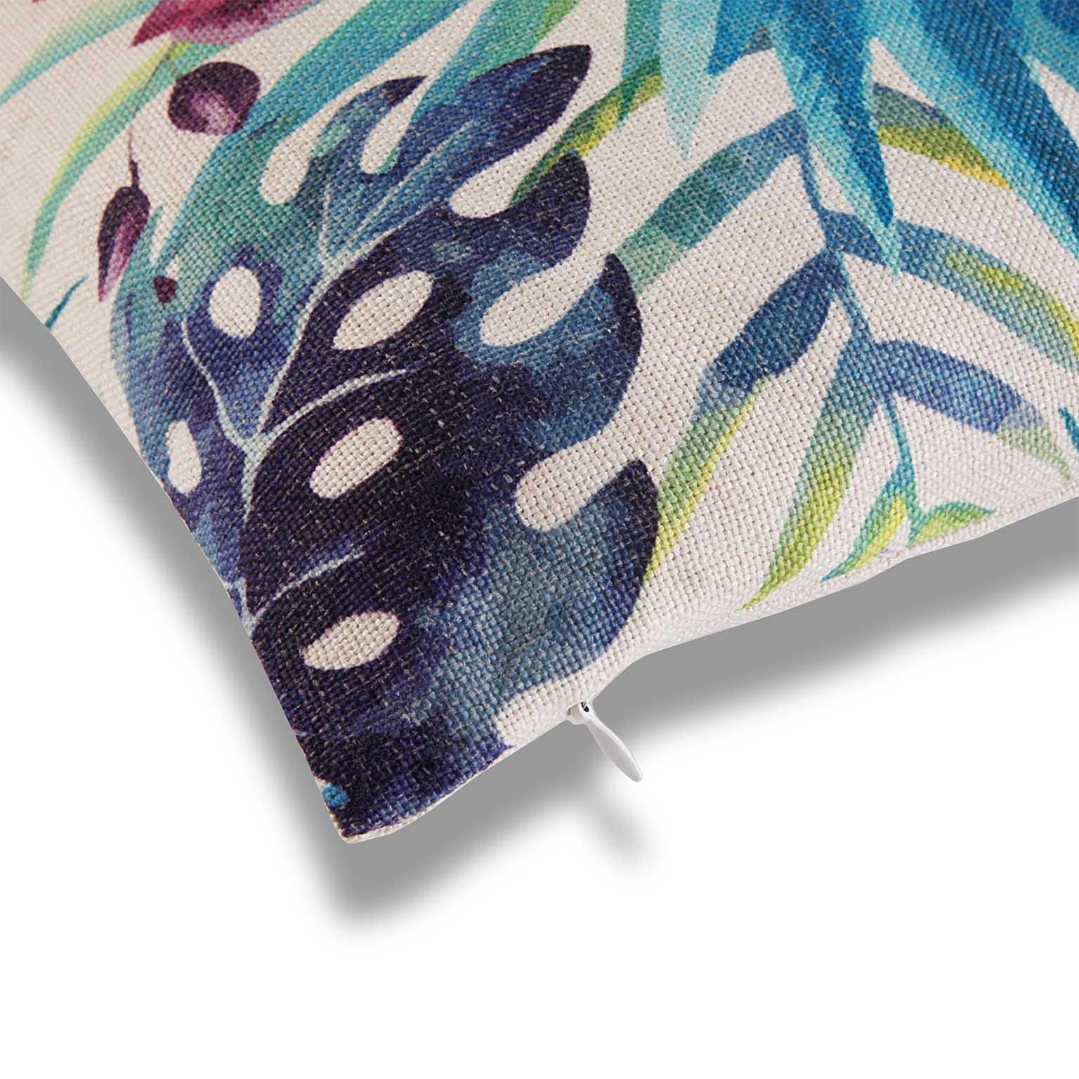 Coussin Épais Tropical Feuilles Bleu Vert Et Fleurs 45X45Cm Borneo avec Coussin Bleu Vert