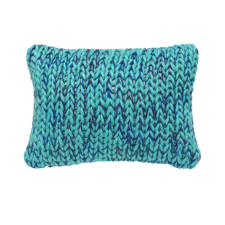 Coussin Laine Grosse Maille Bleu Vert Haut De Gamme Et Design tout Coussin Bleu Turquoise