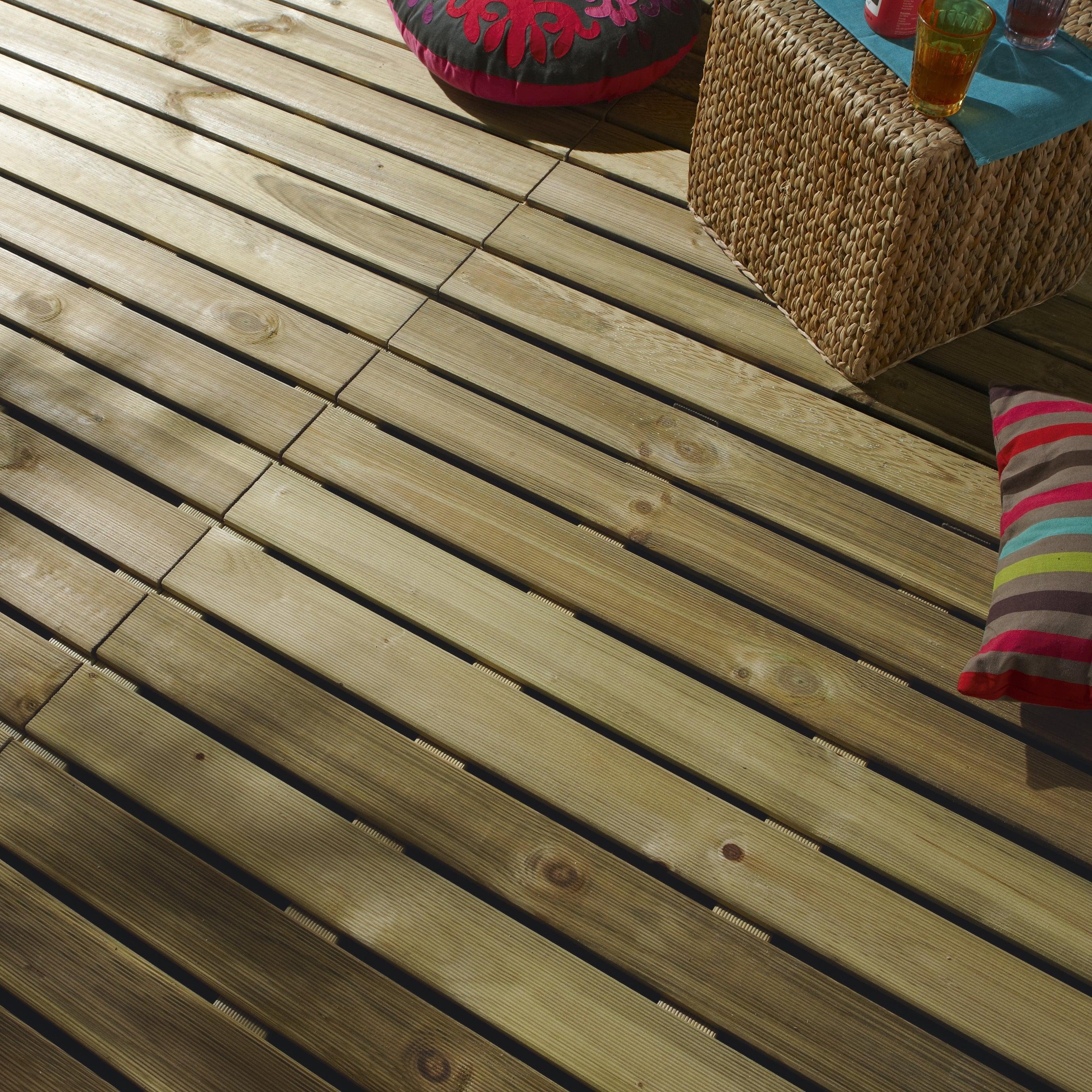 Dalle Bois Pin, L.100 X L.100 Cm X Ep.28 Mm dedans Caillebotis Bois Exterieur