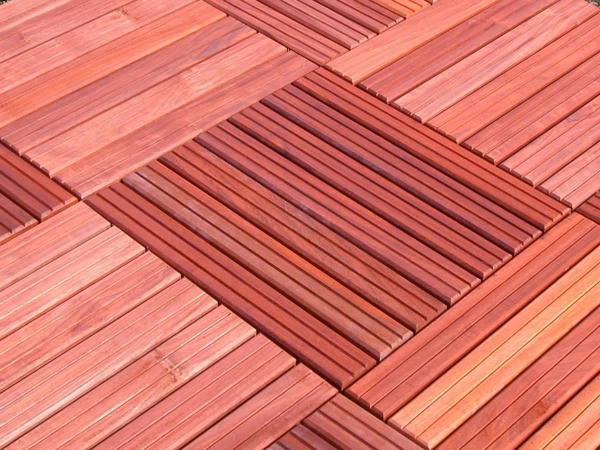 Dalle Pour Terrasse 50 X 50 Cm En Bois Exotique Padouk - Caillebotis à Caillebotis Bois Exterieur
