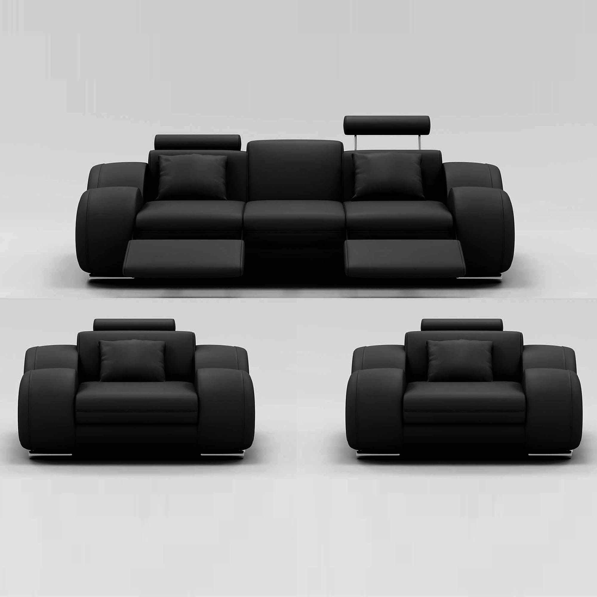 Ensemble Canapé Relax 3+1+1 Places Noir Design Oslo avec Canape Relax Design