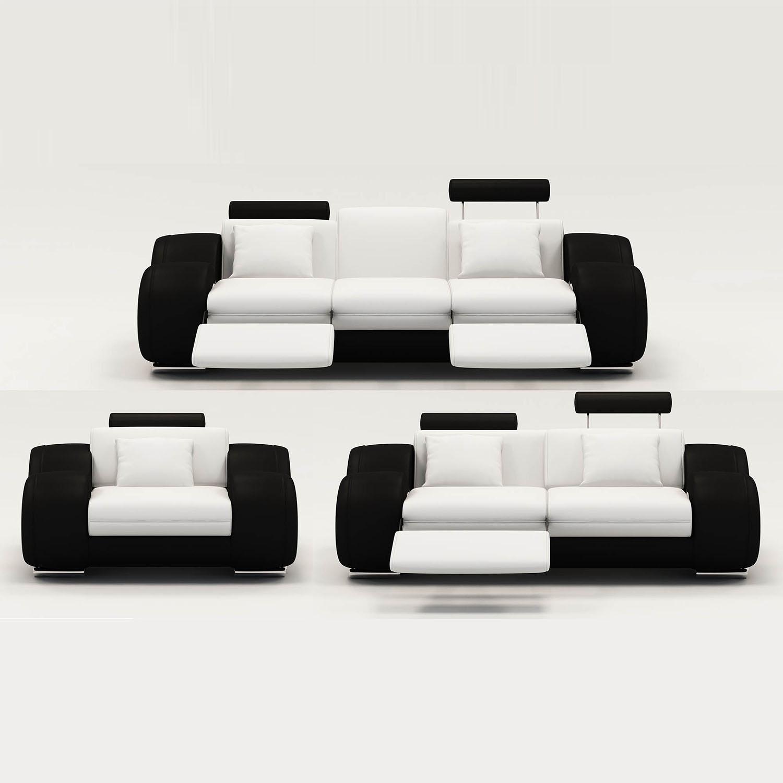 Ensemble Canapé Relax Design 3+2+1 Places Blanc Et Noir Oslo avec Ensemble De Canape