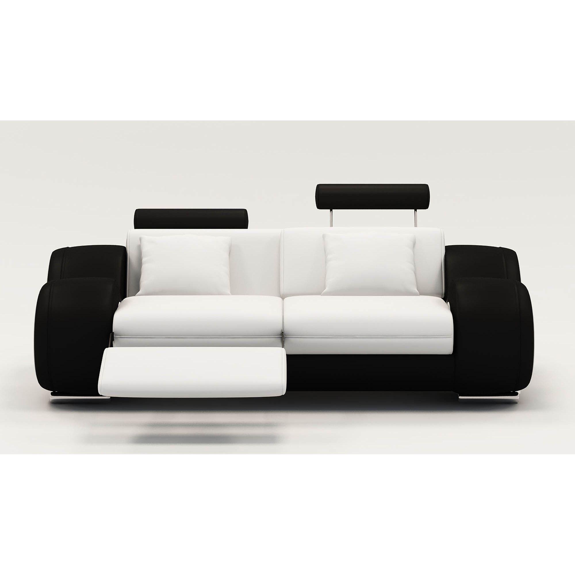 Ensemble Canapé Relax Design 3+2+1 Places Blanc Et Noir Oslo destiné Canape Relax 2 Places