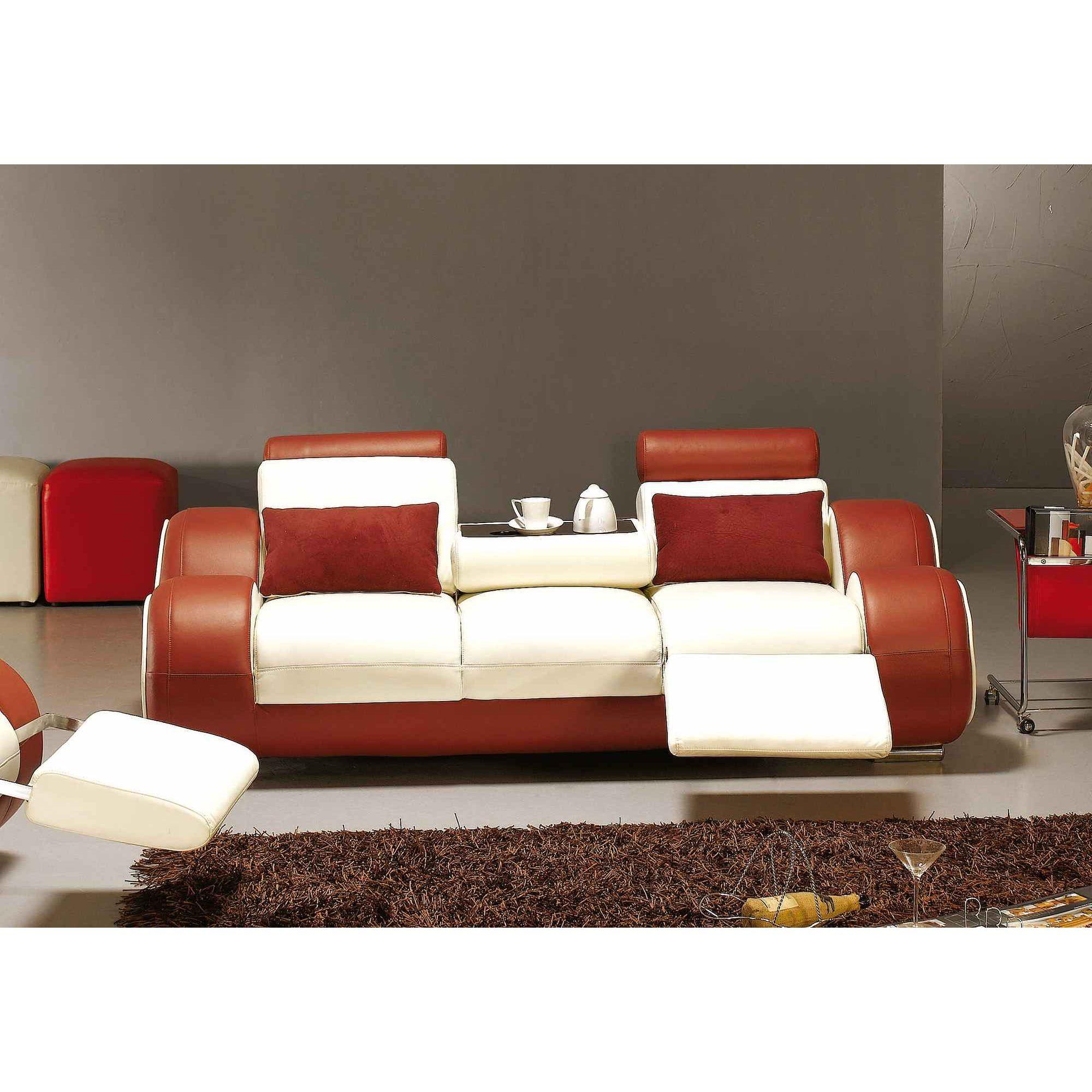 Ensemble Canapé Relax Design Cuir Blanc Et Rouge Oslo avec Canape Relax Design