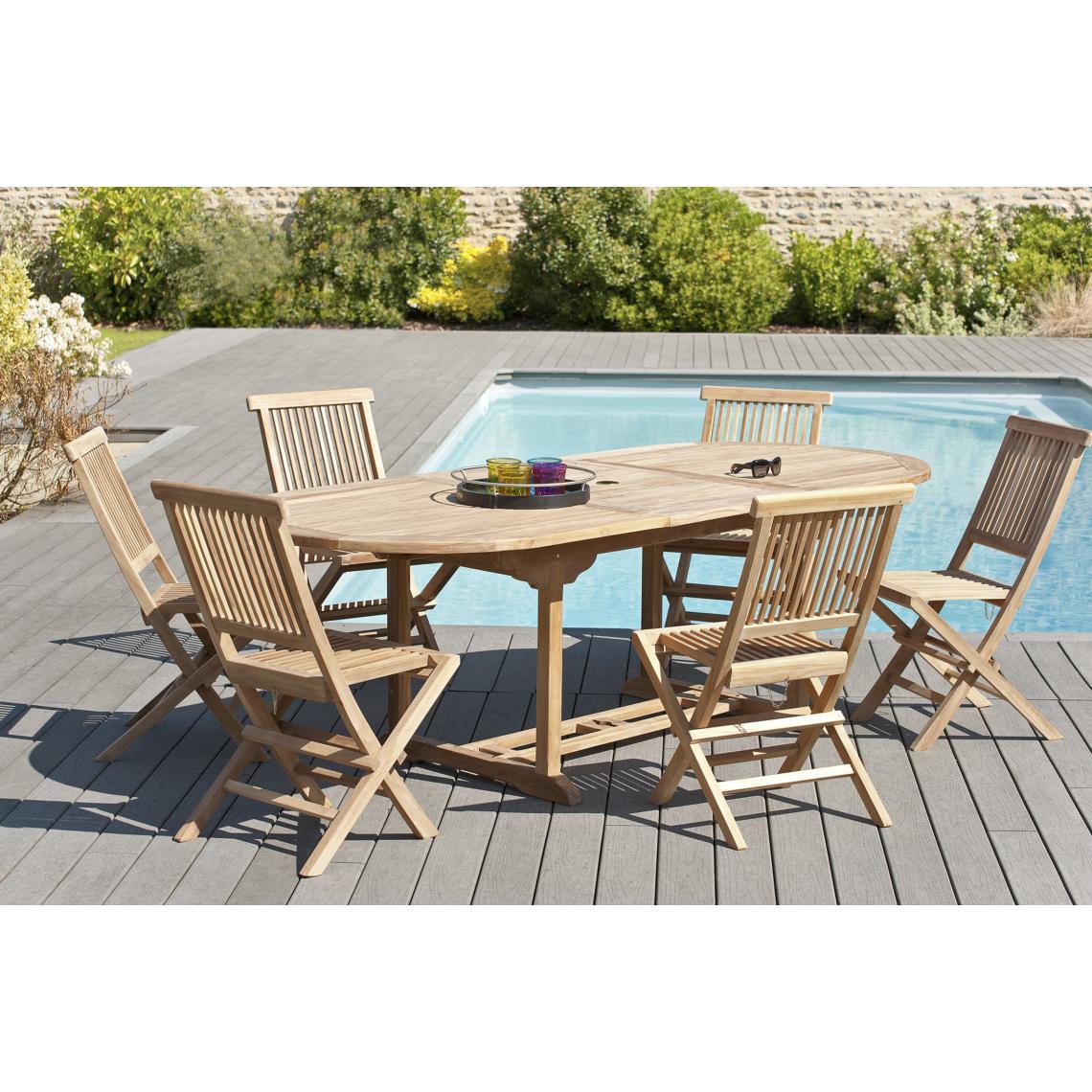 Ensemble Table Ovale Extensible + 6 Chaises En Teck Massif Plus D's serapportantà Table Et Chaises De Jardin Pas Cher