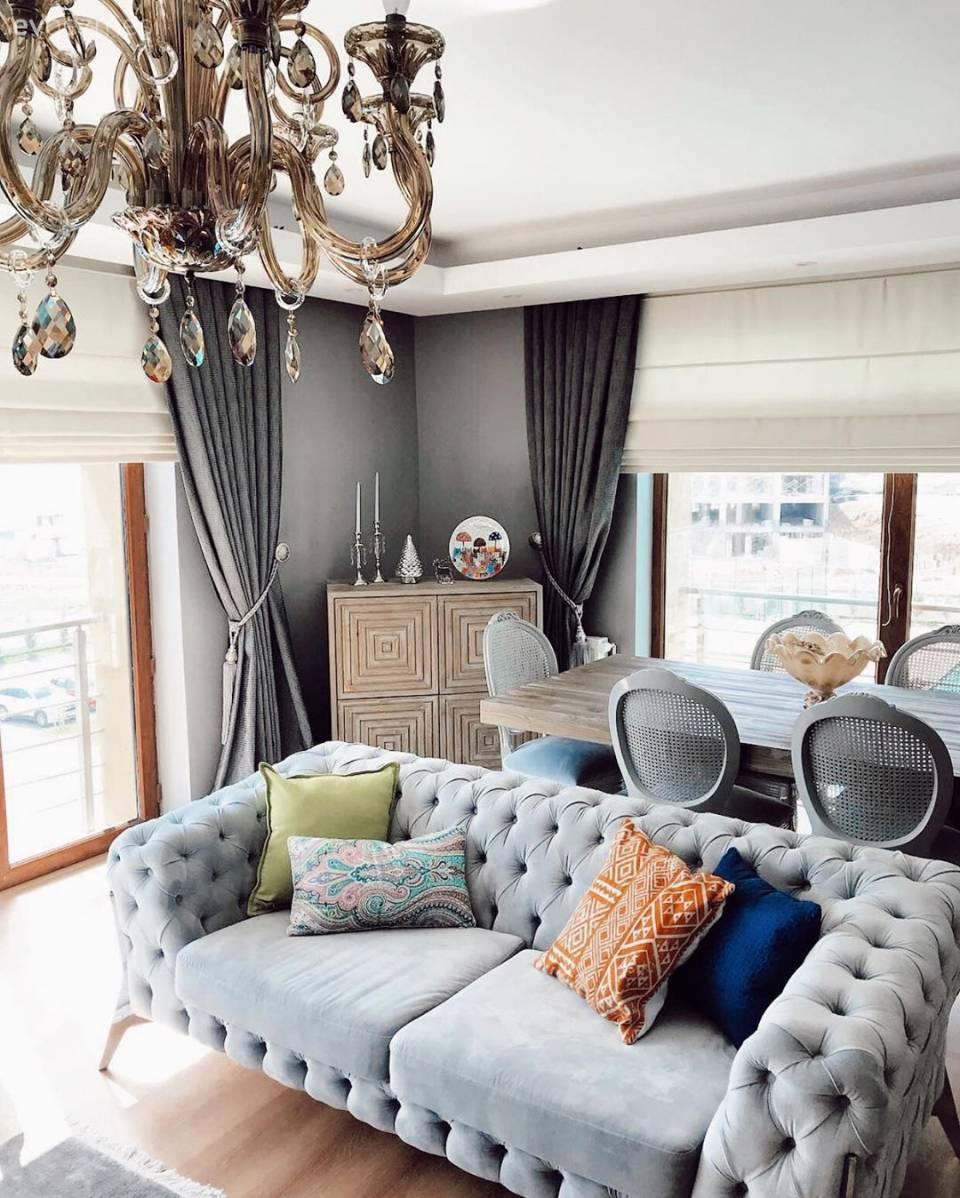 Ev Dekorasyonu, Salon, Mutfak, Banyo Dekorasyonları | Ev Gezmesi destiné Salon Gris Et Blanc