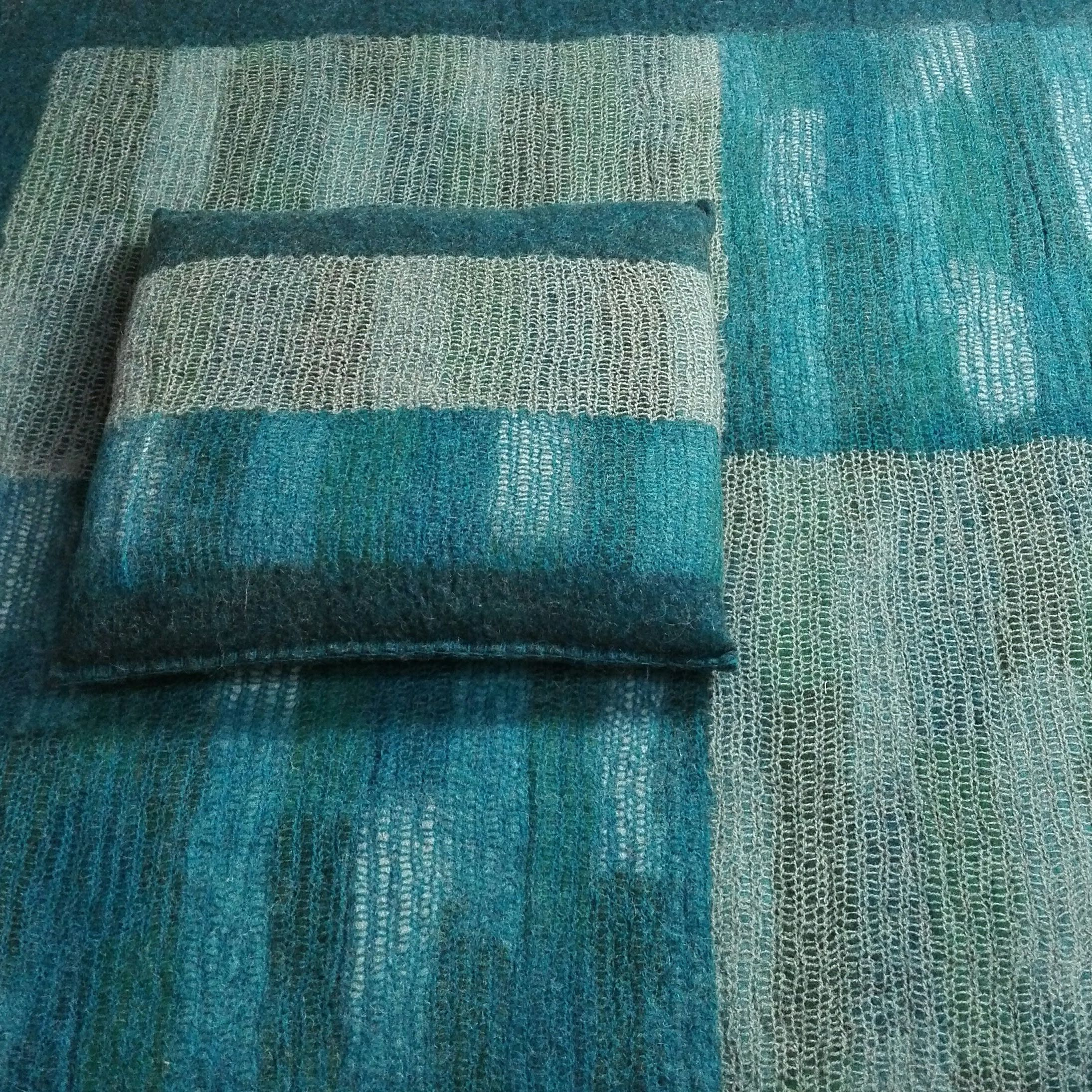 Felt Cushion, Square, Blue Green destiné Coussin Bleu Vert