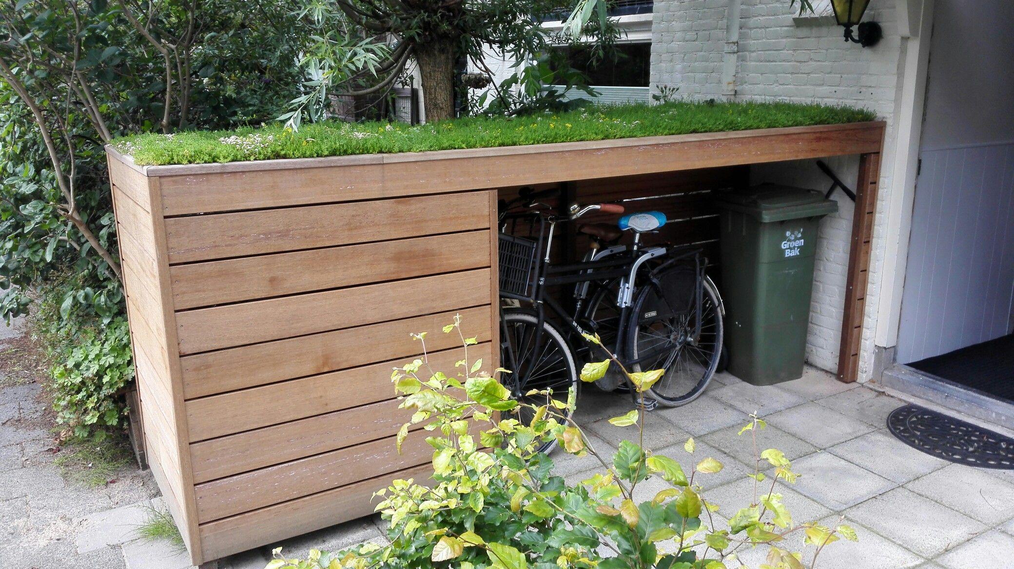 Fietsenberging Met Groen Dak | Abri Vélo, Rangement Terrasse ... pour Abri De Jardin Moderne