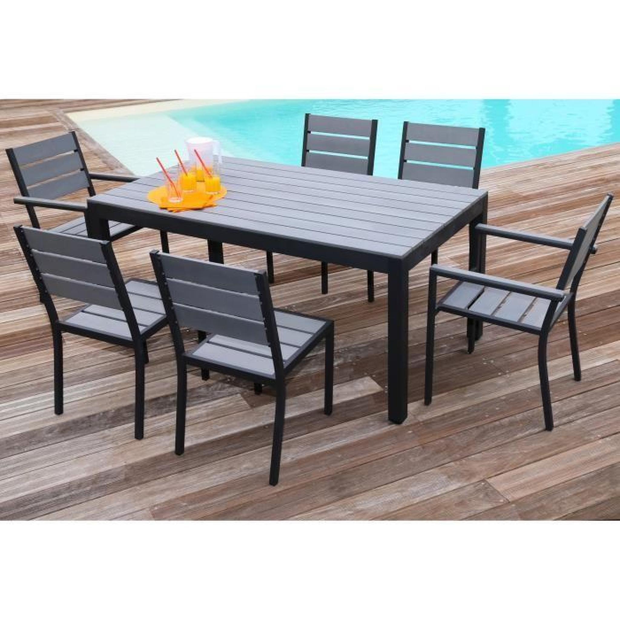 Floride Ensemble Table De Jardin 160 Cm + 2 Fauteuils + 4 Chaises Aluminium  Et Polywood Gris pour Table Et Chaises De Jardin Pas Cher