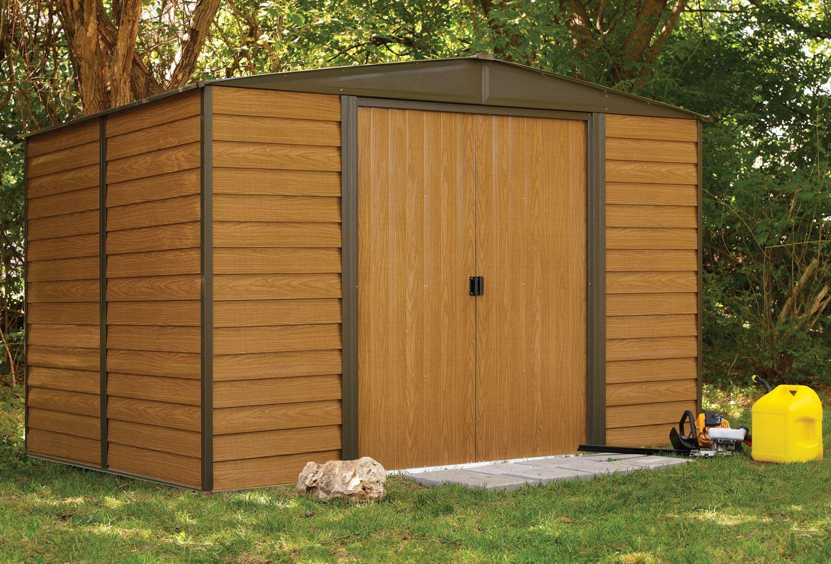 Galvanized Steel Garden Shed Imitation Wood Wr108 Ed108 avec Abri Jardin 4M2
